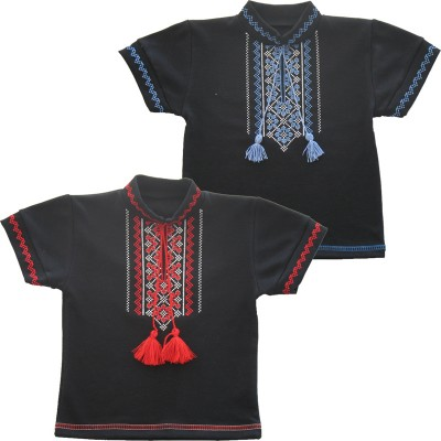 Вышиванка для мальчика с коротким рукавом черная интерлок однотонный